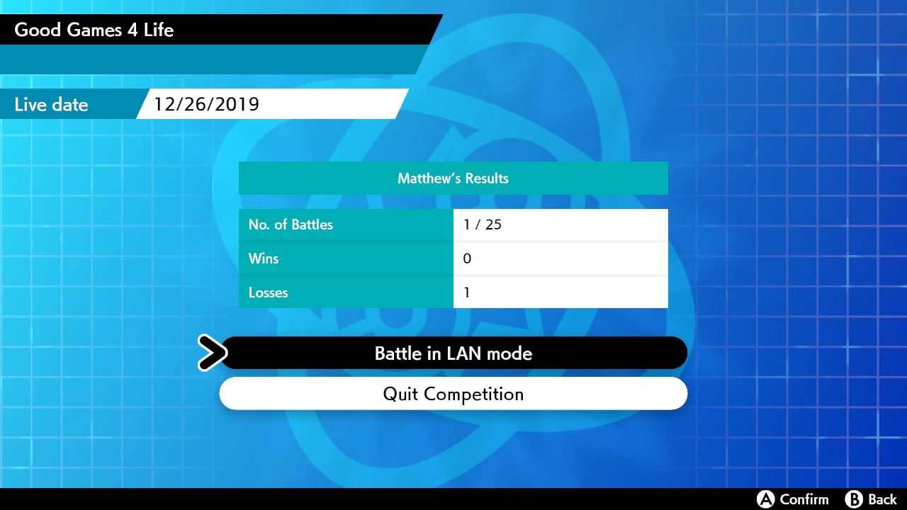 To battle in LAN mode, go to the Battle screen and hold the 𝗟 button and 𝗥 button, and then press the left stick in (also known as the 𝗟𝟯 button). To exit LAN Mode, press this button combination again.