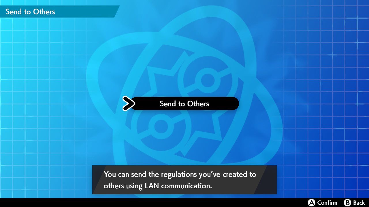 To send battle regulations in LAN mode, go to the Send to Others screen and hold the 𝗟 button and 𝗥 button, and then press the left stick in (also known as the 𝗟𝟯 button). To exit LAN Mode, press this button combination again.