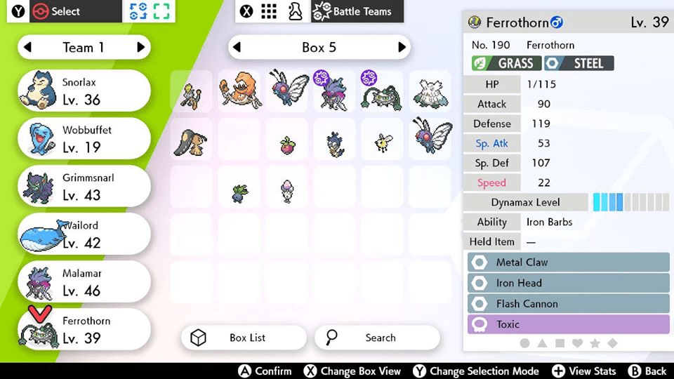 Step 8: Select the Pokémon you would like in your Battle Team and transfer them to the Battle Team. Once all Pokémon are in your Battle Team, press the 𝗕 button to return to the selection screen.